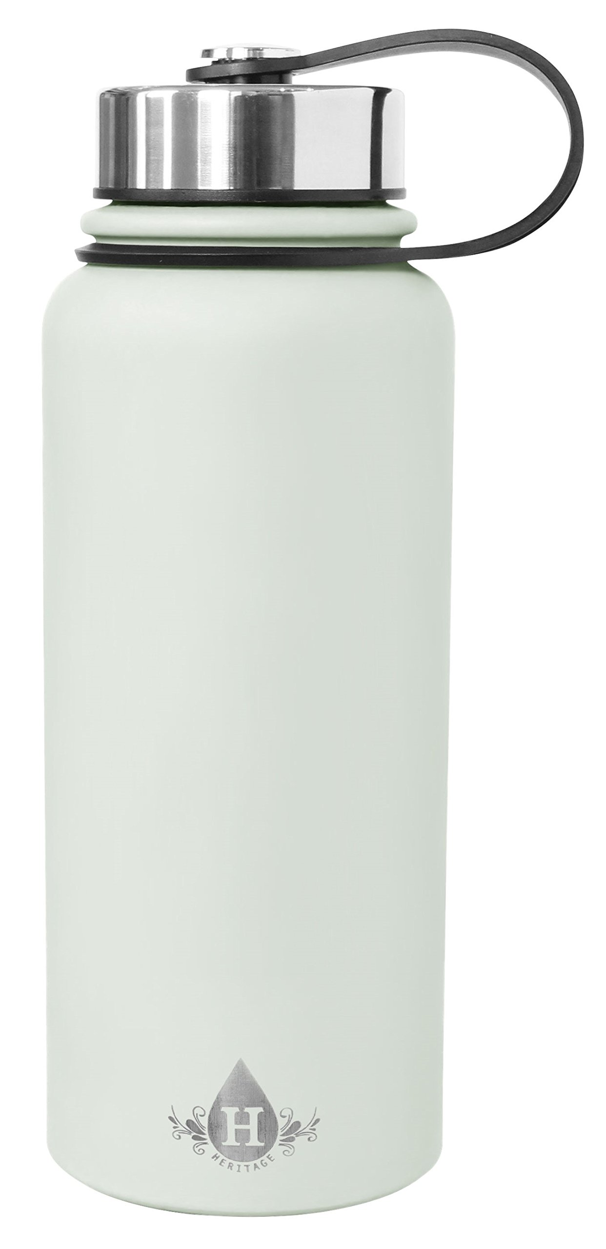 Gourmet Home Products 185148 30oz Double Wall Stainless Steel Vacuum Insulated Flask Wide Mouth Bottle Water, 30 oz, Spa Blue