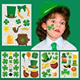 Mocossmy St Patricks Day Temporary Tattoos,Shamrock Decorations Tattoos for Kids and Adults,Irish St.Patrick's Day Accessorie