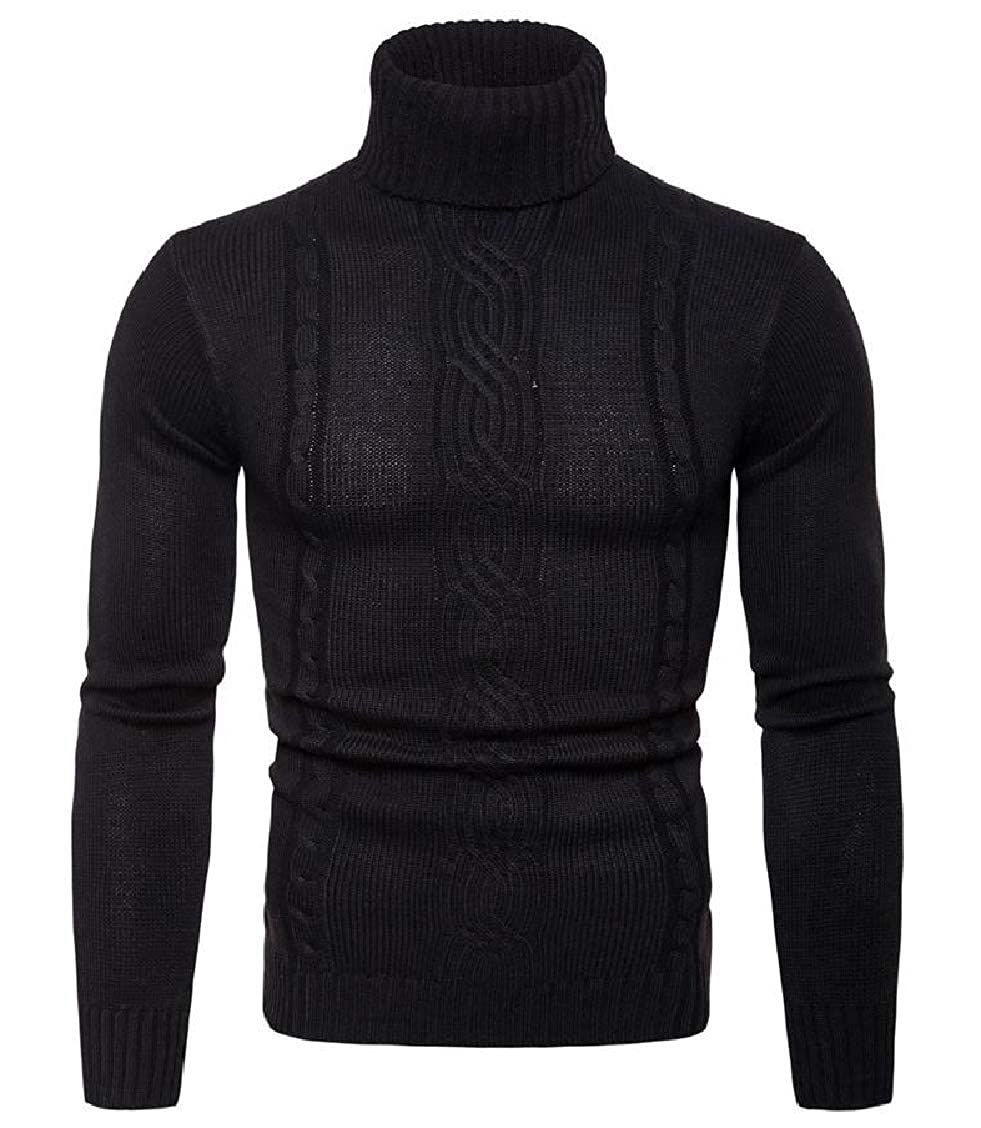 Freely Mens Solid Leisure Mock Neck Knitted Long Sleeve Pullover Sweater