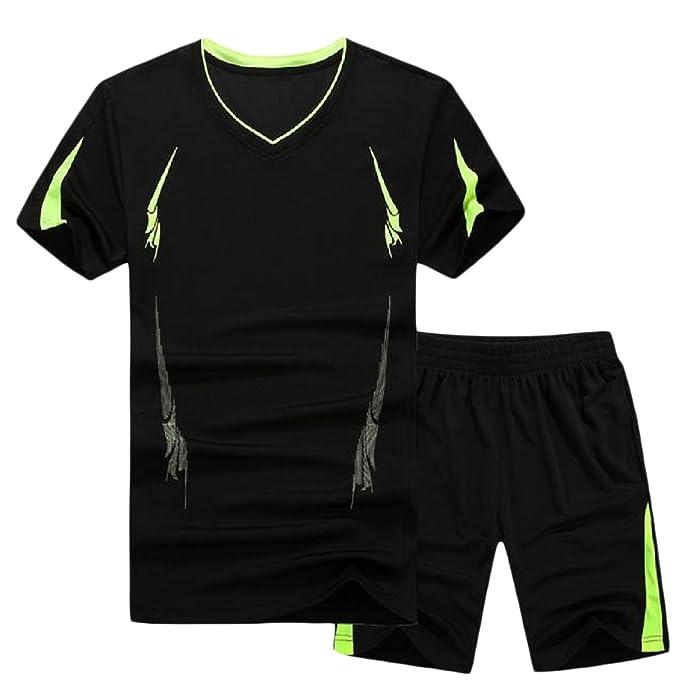9531a950d SportsX Mens Quick Dry 2-Piece Plus-Size Summer Sport Sweat Suit Set Black