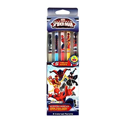 Scentco Marvel Spider-Man Colored Smencils - Scented Coloring Pencils, 5 Count: Office Products
