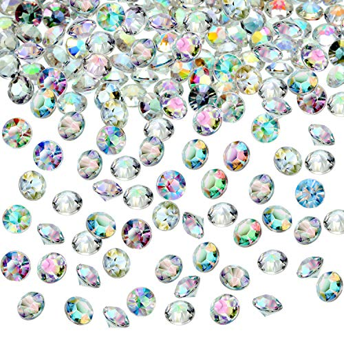 Hicarer 4000 Pieces Table Confetti Wedding Crystals Acrylic Diamonds Rhinestones Vase Fillers for Birthday Baby Shower Party Tables (Crystal AB, 6 mm)