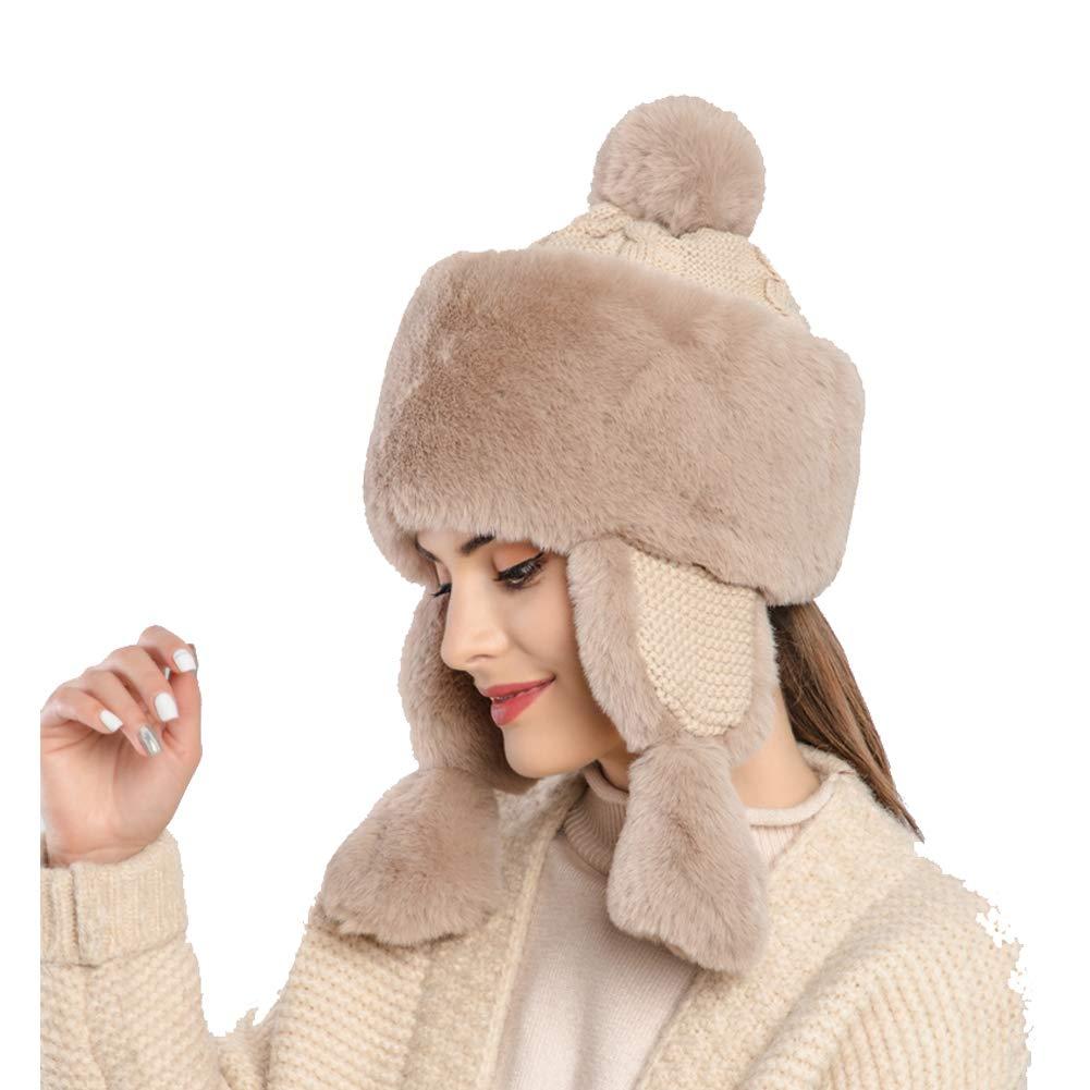 Winter Faux Fur Women Winter Hat with Ear Flap Pom pom Knitted Trapper Russian Aviator Trooper Hat Winter Snow Girls Hat (Brown) by foci cozi