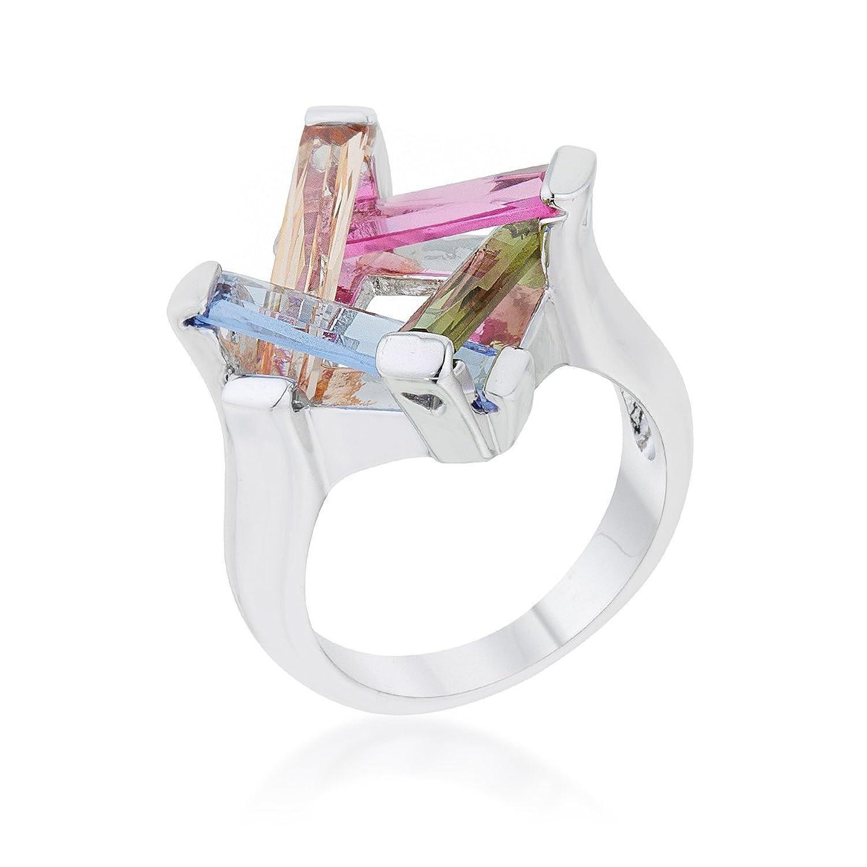 10ct Multicolor CZ Rhodium Cocktail Ring