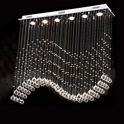 7PM L40″ x W10″ X H40″ Rectangle Wave Rain Drop Clear LED K9 Crystal Chandelier