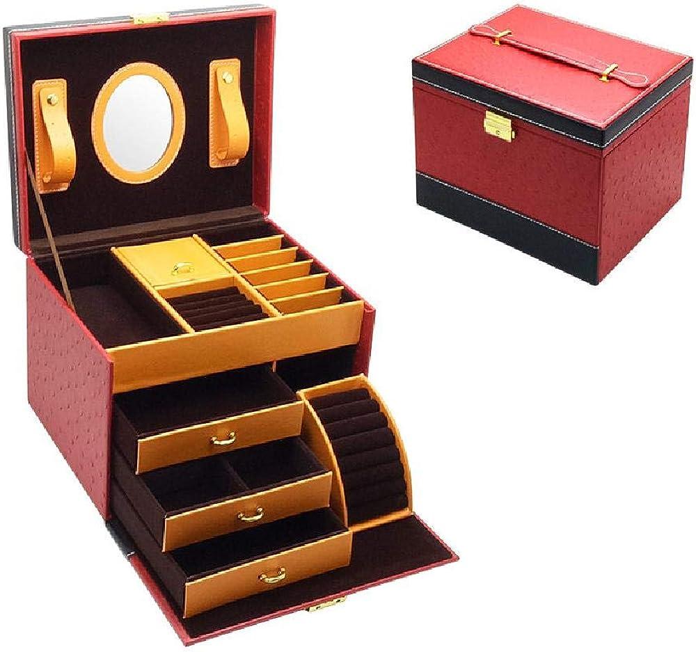 GY Pendientes femeninos Patrón de avestruz Caja de almacenamiento de joyería de cuero portátil Caja de joyería de gran capacidad de gran tamaño Estuche de cosméticos portátil
