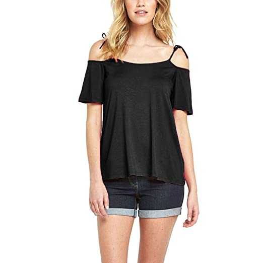 ILUCI Womens Tops Clearance Short Sleeve Cold Shoulder Tunic Tops Casual Loose Blouse T-Shirts