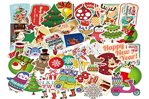 Dotiow 100pcs No Duplicated Christmas Stickers Pack Novelty Assorted Xmas Gingerbread Man, Santa Christmas Tree Christmas Holiday Decor Gift Decals