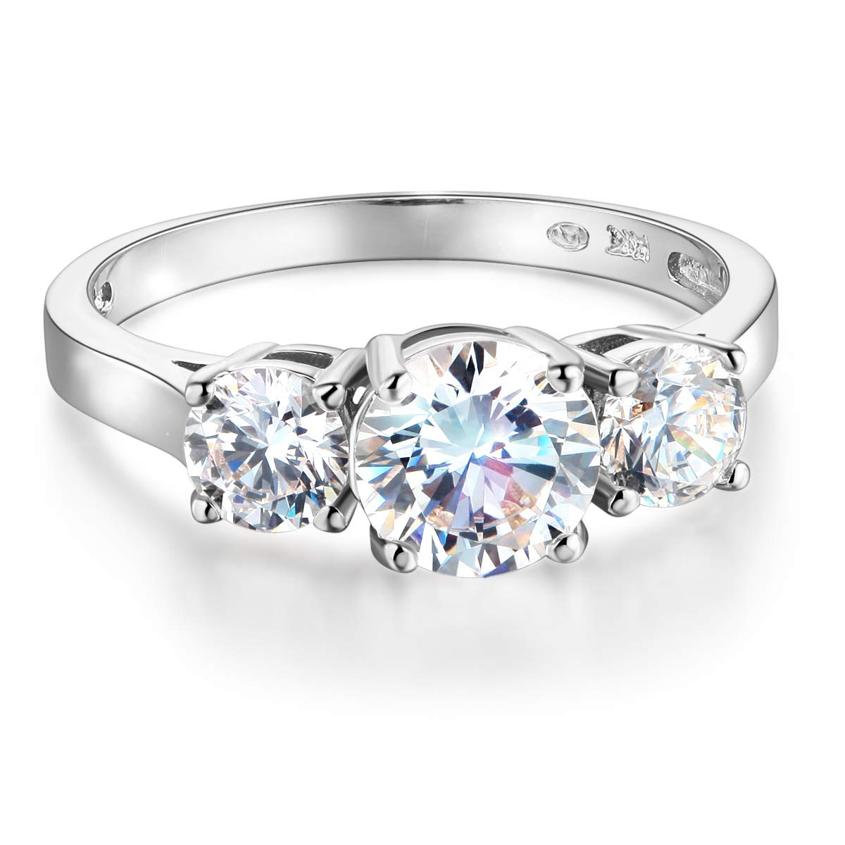 Wellingsale Ladies 925 Sterling Silver Polished Rhodium Wedding Engagement Ring