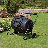 Large 50 Gallon Wheeled Tumbler Composter Garden Yard Work Mulch Maker Composing Organic Waste