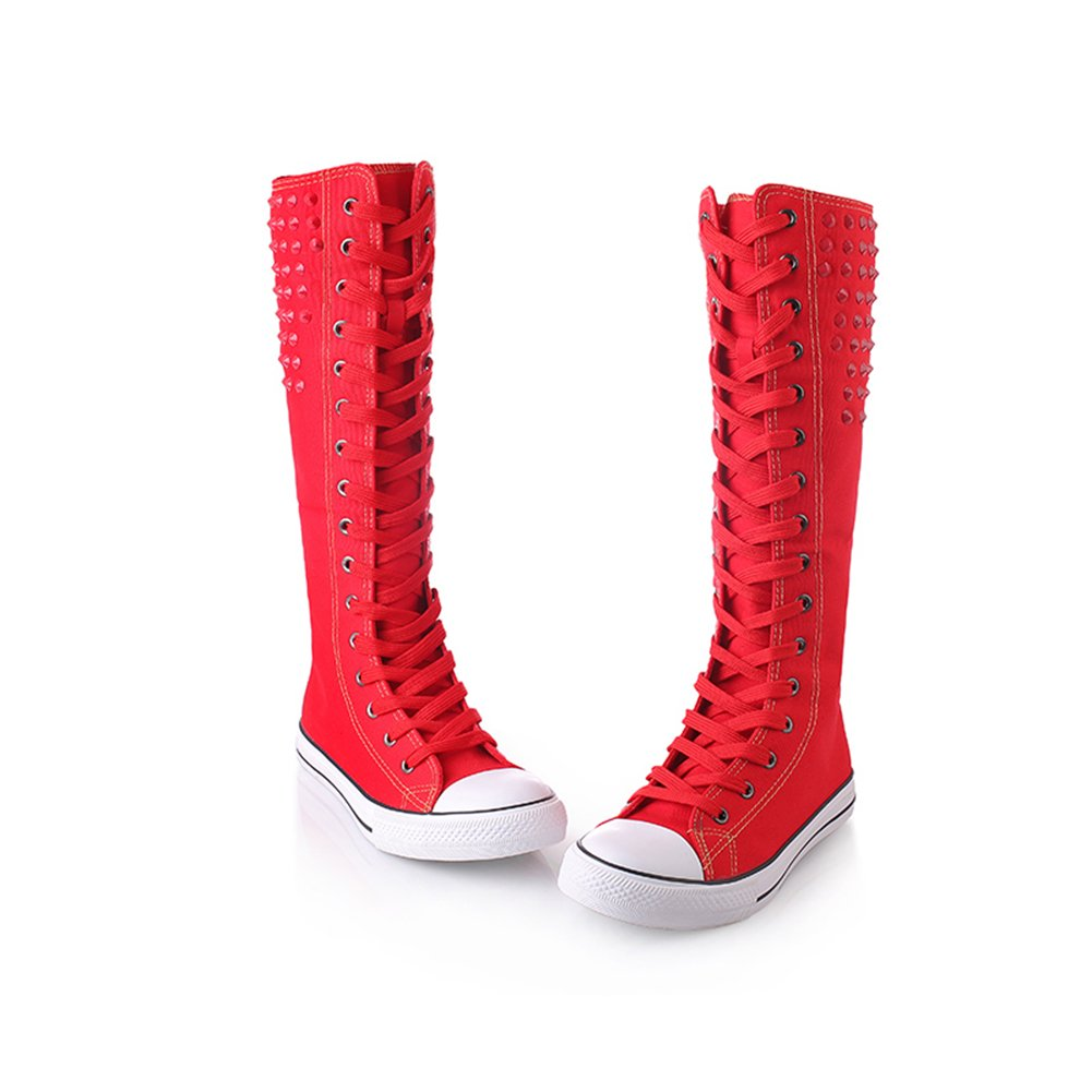 Womens Knee High Lace Up Canvas Sneakers Boots Punk Rivet Zipper Canvas Shoes Red