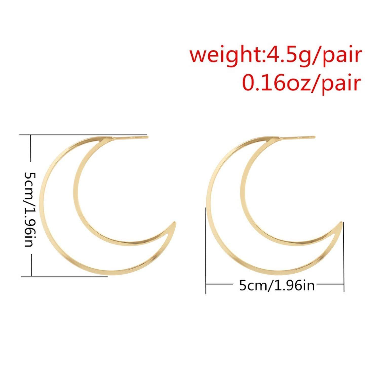 2019 Moon Earrings for Women Punk Earrings Crescent Stud Earrings for Women Geometric Earring
