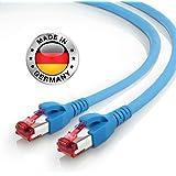AIXONTEC 12m CAT7 Ethernet LAN Kabel RJ45 Profi Netzwerkkabel Blau | 10 Gigabit | Leoni Cat.7 Megaline F6-90 s f flex | Hirose TM21 Netzwerkstecker | kompatibel zu CAT.5e / CAT.6 / CAT 7 Kabel
