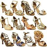 Party Party Gold Dance Shoes: 5008LEDSS Gold Glitter Satin, 3.5' Stiletto Heel, Size 10