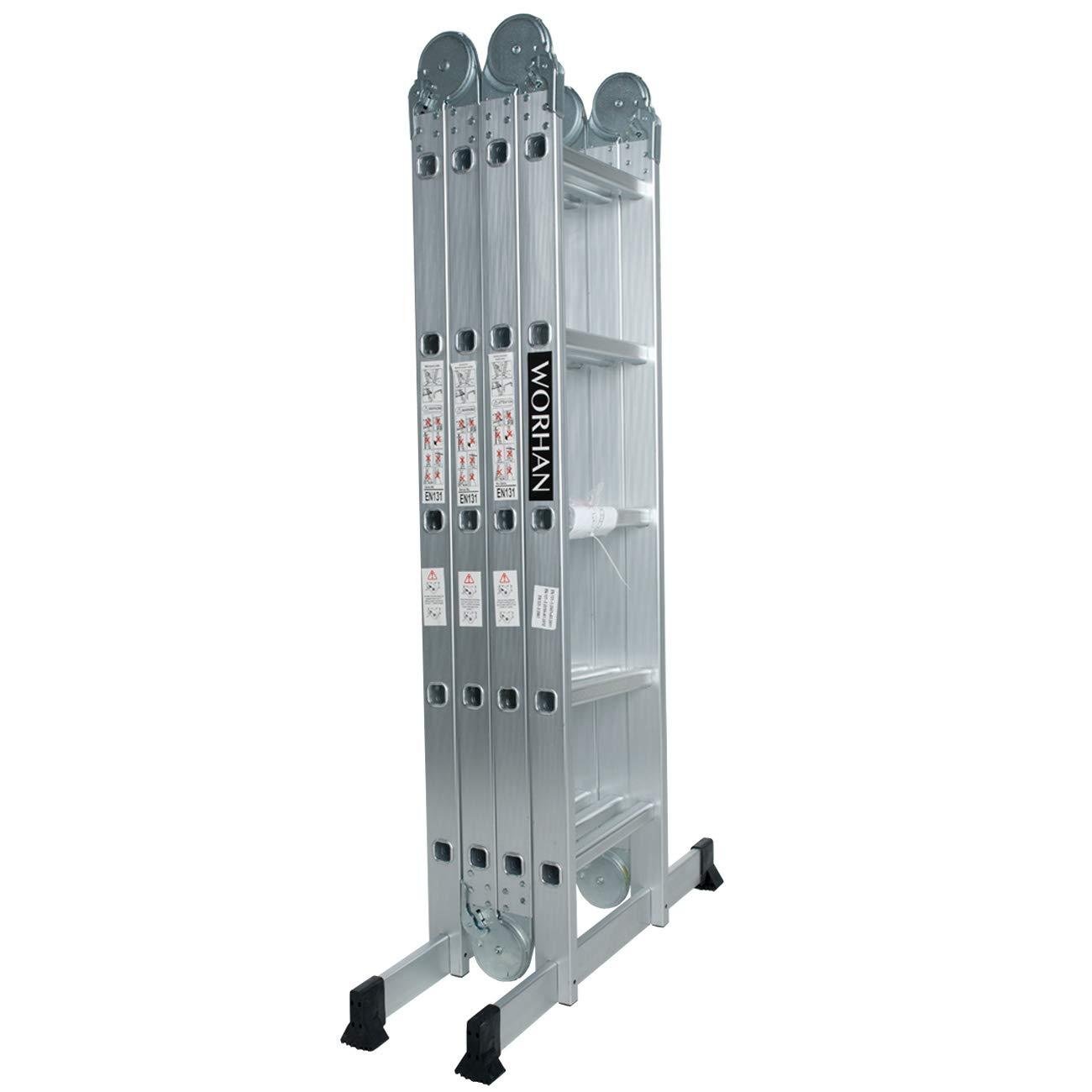 WORHAN® 5.7m Foldable Multipurpose Multifunction Aluminium BIG HINGE Ladder with Twin Stabilizers Step Ladder KS5.7 WORHAN®