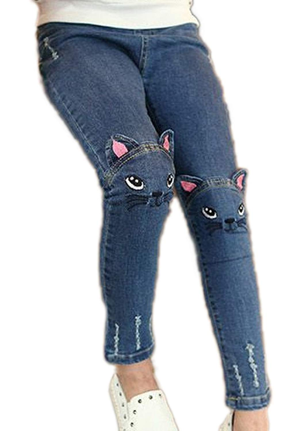 Big Girls Kids Distressed Ripped Hole Teens Jean Blue Cat Slim Denim Pants 18July08-12