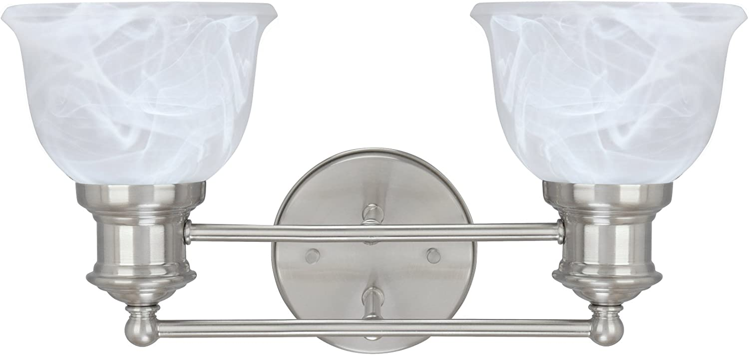 """Aspen Creative 62138, Two-Light Metal Bathroom Vanity Wall Light Fixture, 15 1/2"""" Wide, Transitional Design in Brushed Nickel with Faux Alabaster Glass Shade"""