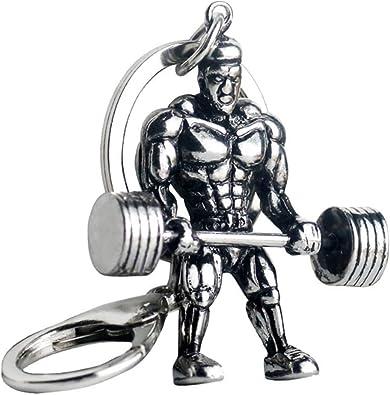MUSCLE MAN Bodybuilder Gym Weight Training Keyring Keychain Key Stainless Steel