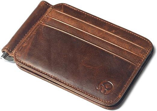 Money clip Dark brown slim Money clip Leather money clip