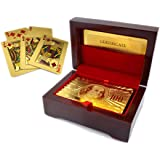 Luxurious 24K Gold Plated Playing Cards Case and Certificate with Wooden Gift Box   Make Your Magic Tricks More Luxurious & Creative Family & Friends