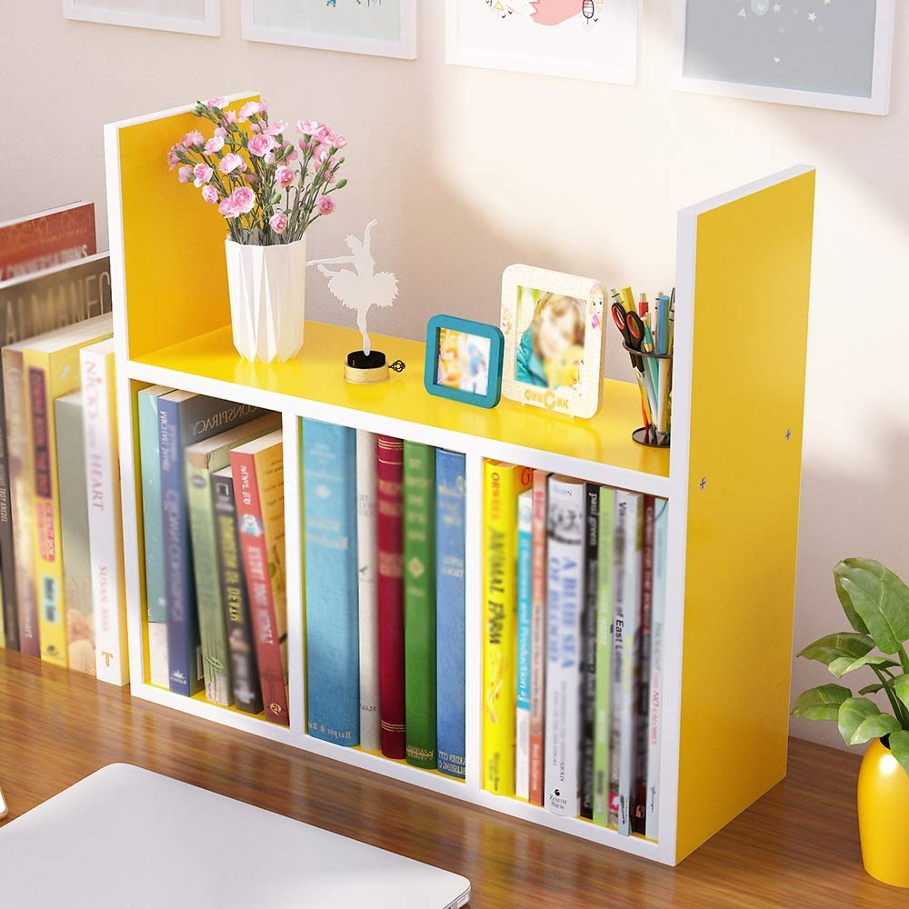 Yellow Bookshelf Simple small table storage rack student dormitory office desktop rack combination bookcase (multicolor optional) (color   White maple)
