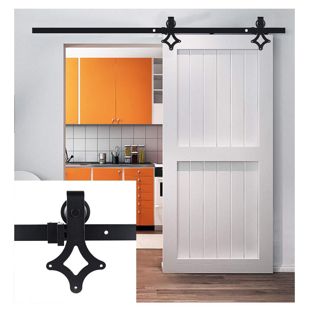 negro Kit de gu/ía para puerta corredera en hierro Ferreter/ía Polea de Rail suspendida sistema de puerta interiores en madera granero armario cuarto de ba/ño 183/cm//200/cm negro