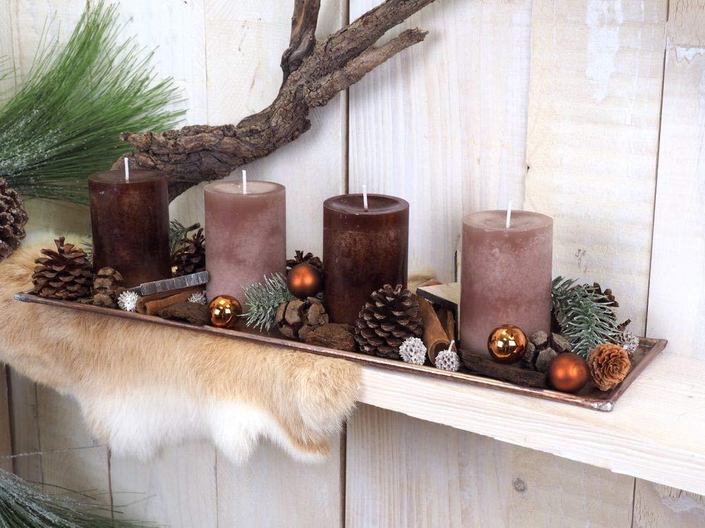 Adventsgesteck Weihnachten Deko Tablett Kupfer Braun Taupe Naturdeko