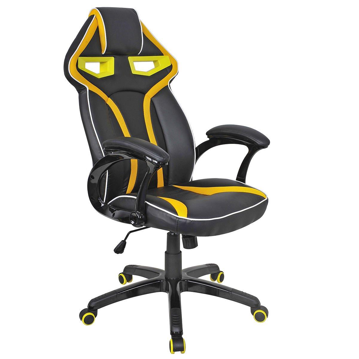 officelax Racing椅子ゲームチェアハイバック回転PUレザー人間工学オフィスチェア、バケットシート イエロー B076VGQJQQイエロー