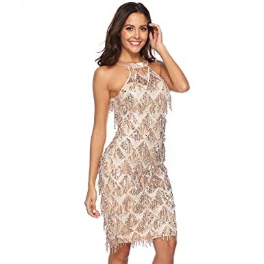 ca63b458a6ac Image Unavailable. Image not available for. Color: LHJ Womens High Neckline  Off Shoulder Fringe Sequin Party Mini Dress White