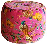 Tropical Velvet Pouf in Pink