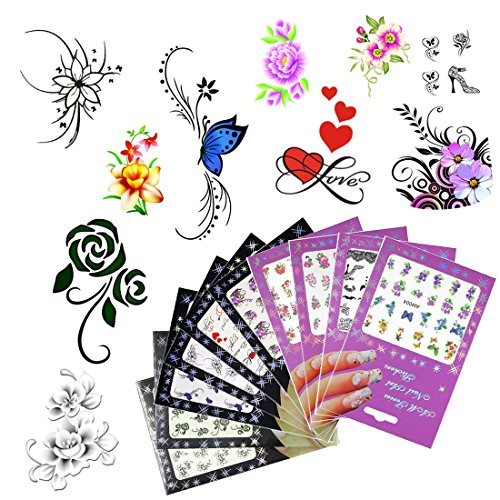 10 Pack Nail Art Sticker Water Decals Foil Adhesive UV Gel Polish Nail Stickers Set Tips Manicure Decoration DIY Accessories (10 Pack Style 1)