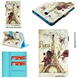 Gostyle Full Body Case for Samsung Galaxy Tab A 7.0'' T280, Slim Fit Samsung Galaxy Tab A 7.0'' T280 Leather Wallet Case with Pencil Holder/Credit Card Slots,Flip Smart Stand Cover-3D Flower Tower