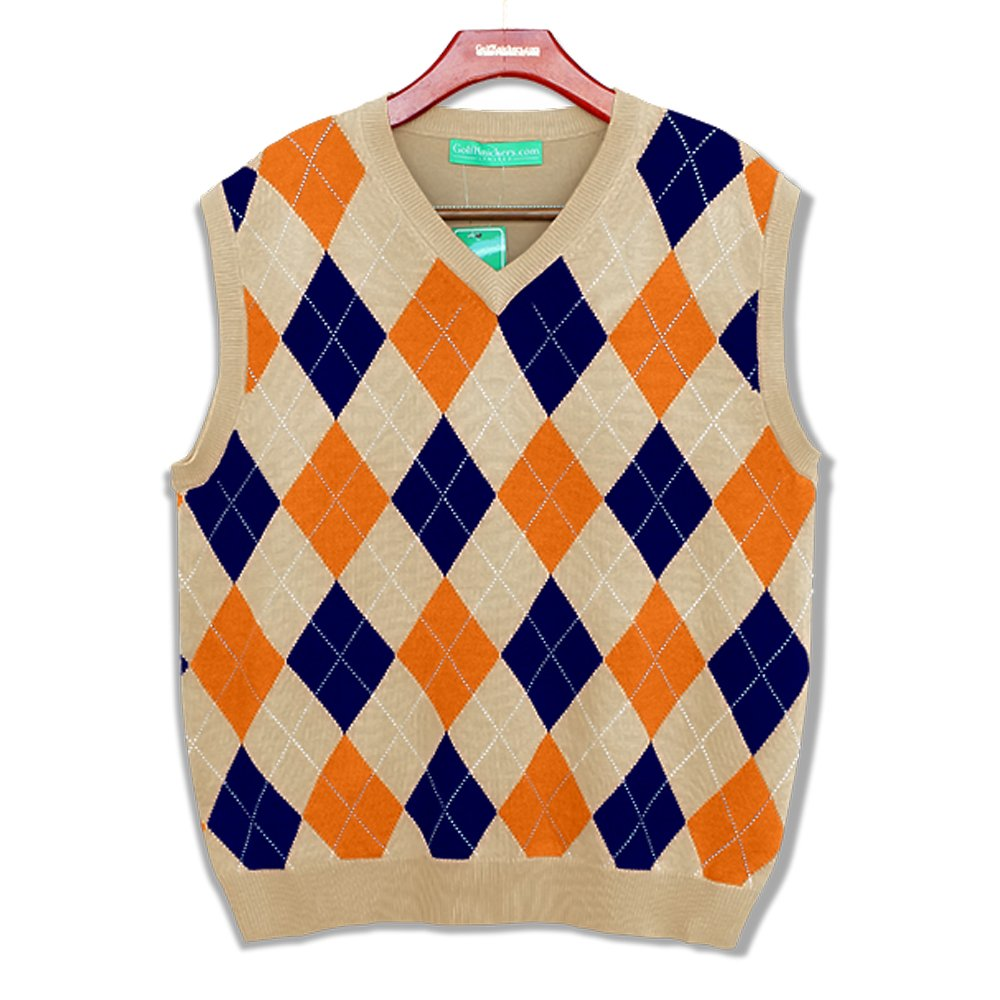 1920s Style Mens Vests V-Neck Argyle Golf Sweater Vests - GolfKnickers: Mens - Pullover Golf Vest $69.95 AT vintagedancer.com