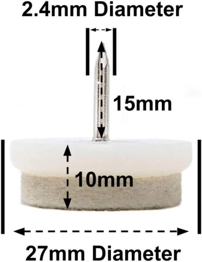 - Deslizadores de clavos de fieltro para muebles ver la segunda foto para dimensiones - Made in Germany Negro, 24mm, Paquete de 24, Broca de 2 mm - Gratis