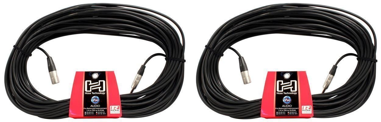 Pair (2) Hosa HSX-100 100' Foot 1/4''TRS To XLR Male Balanced Audio Cables