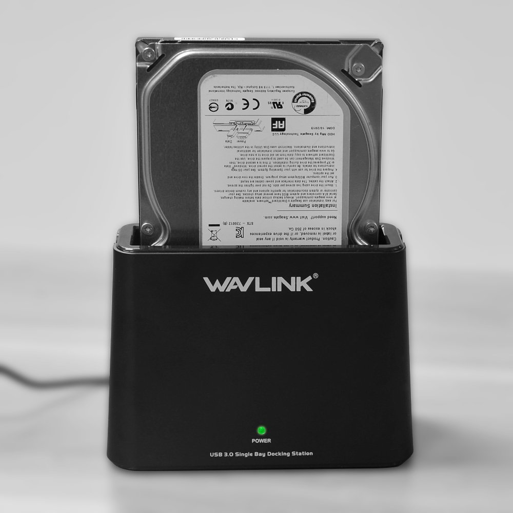 WAVLINK USB 3.0 to SATA External Hard Drive Docking Station for 2.5/3.5 Inch SATA I/II/ III HDD SSD, Support 8TB and UASP, Tool-Free- Black