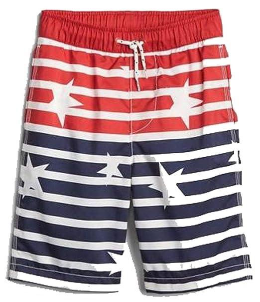 2afbc59a67 Amazon.com: GAP Kids Boys Red White Blue Stars Stripes Flag USA Swim ...