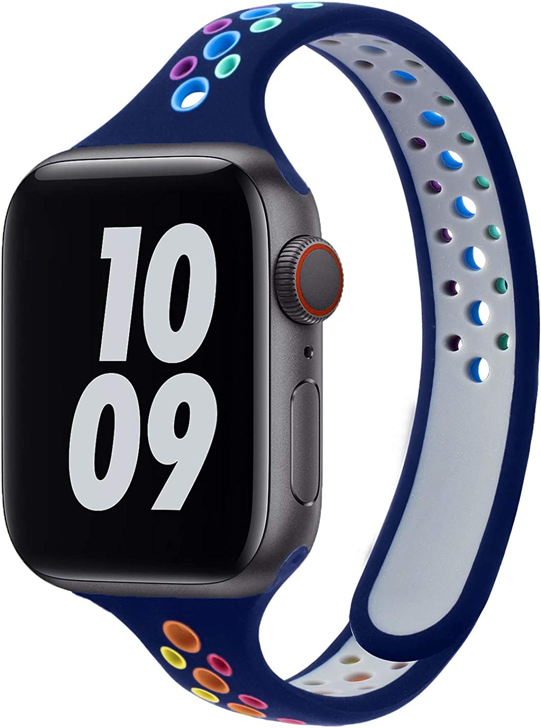 Plusyard Silicone Soft Breathable Sports Slim/Thin Colorful bands Compatible with Apple Watch 38/40mm 42/44mm, for iwatch Series 6/5/4/3/2/1/SE for Women…