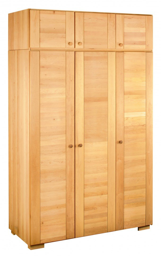 BioKinder 23362 Kai Spar Set Kleiderschrank 3türig mit Aufsatz aus Massivholz Erle
