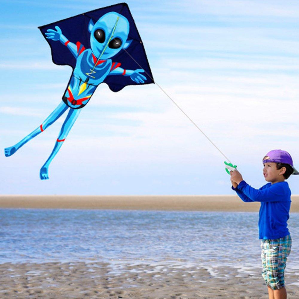 Mayco Bell 2018 55x37 Pulgadas Alien Kite Flying Kitesurf de Deportes al Aire Libre para ni/ños y Adultos Cometa Grande f/ácil de Volar con Cuerda y manija