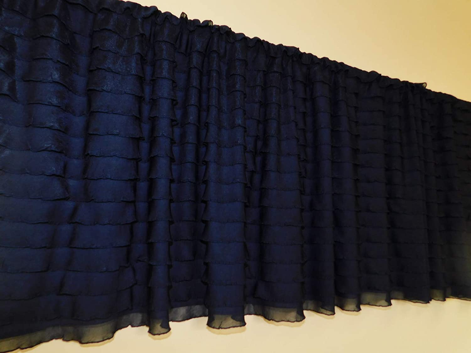 Ruffled Navy Blue Ruffled Curtain Valance - Cascading Ruffle Window Treatment, Baby Girls Nursery valance - Gathered layers, Kitchen Valance, Shabby chic, Princess, ballerina, Home window decor