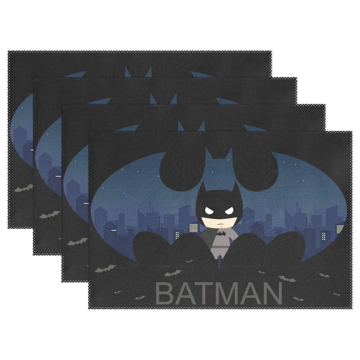 Pig One Cartoon Batman 12x18 in Polyester Fibers Creative European-Style Printing Decoration Table Mat Insulation Cushion Household Rectangular Plate Mat for Dining Room Kitchen Table Decor