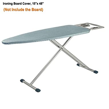iiSPORT Padded Ironing Board Cover - Scorch Resistant Ironing Board Cover with Cotton Padding Heat Reflective Pad and Drawstring Cord Tightening (Fits Standard Large Boards of 15 x 48 )