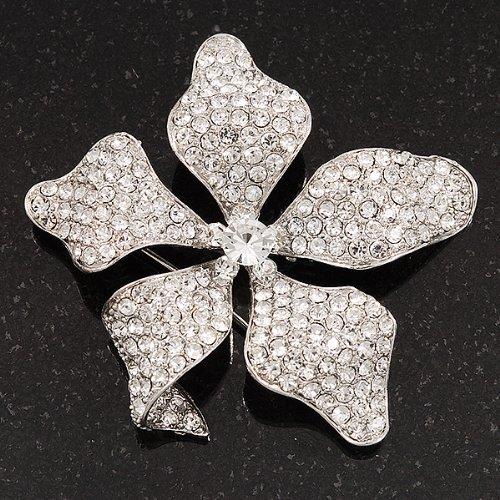 Broche fleur cristal Swarovski mariée étincelante en métal plaqué rhodium