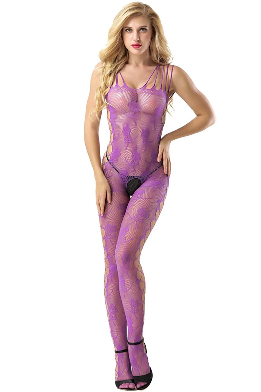 f85455b63d8 Amazon.com  evershare Women Sexy Lingerie Bodystocking Fishnet Floral  Crotchless Bodysuit For Sex Black  Clothing