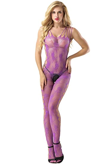 c35cb5893 Amazon.com  evershare Women Sexy Lingerie Bodystocking Fishnet Floral  Crotchless Bodysuit For Sex Black  Clothing