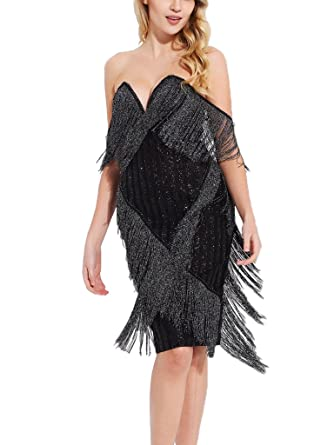 1b1acca4fe S Curve Sequin Mesh Evening Party Clubwear Off Shoulder Strapless Tassel  Fringe Bandage Bodycon Dress