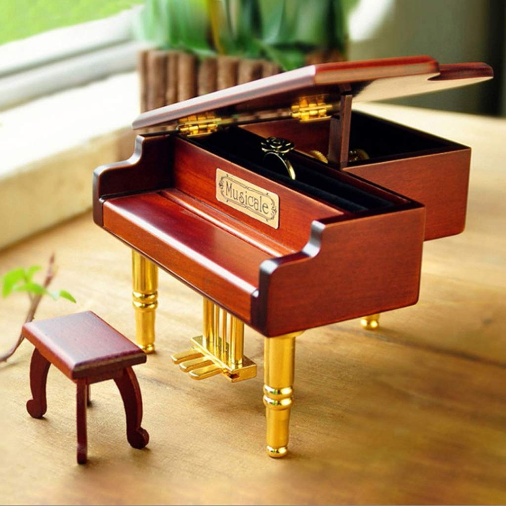 ZHAS Hong Yi Fei Shop Music Boxes \\\\ u0026 Simulation Figures Wooden Box Music for Piano Jewelry, Rings Canister, Elegant Table Decoration, Perfect