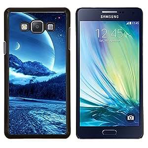 KLONGSHOP // Cubierta de piel con cierre a presión Shell trasero duro de goma Protección Caso - Sci Fi Luna Planet - Samsung Galaxy A7 A7000 //