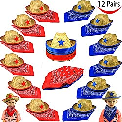 Pack of 12 Childs Straw Cowboy Hats with Cowboy Bandannas (6 red & 6 blue) Party Favors